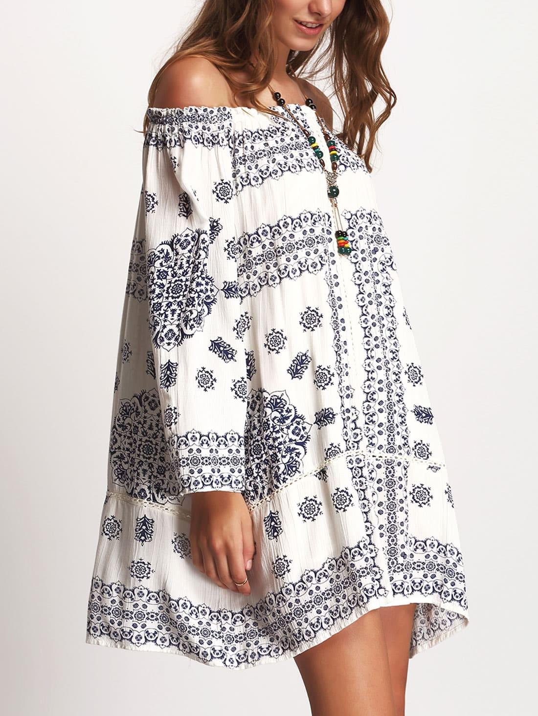 Blue Print Off Shoulder Crochet Insert DressBlue Print Off Shoulder Crochet Insert Dress<br><br>color: White<br>size: L,M,S,XL,XS,XXL