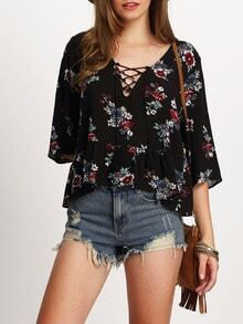 Elbow Sleeve Lace Up Floral Print Blouse