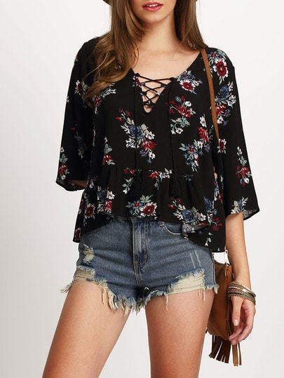 Black Half Sleeve Lace Up Floral Print Blouse