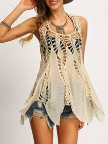 Apricot Crochet Hollow Out Tank Top