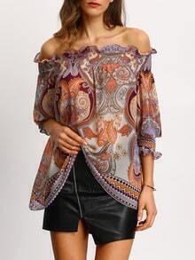 Off The Shoulder Paisley Print Ruffle Chiffon Shirt