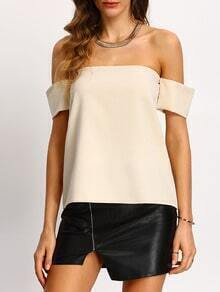 Apricot Off The Shoulder Shirt