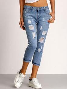 Blue Ripped Scratch Denim Pant
