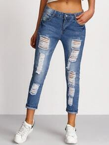 Blue Distressed Denim Pant