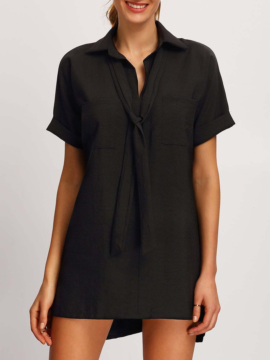 Kurzarm t shirt kleid vorne kurz hinten lang mit - Kleid lang mit schlitz ...