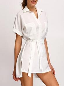 White Dip Hem Split Shirt Dress With Tie