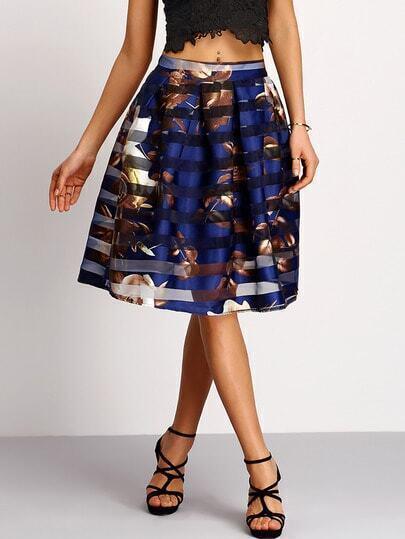 Mesh Striped Overlay Flower Print Umbrella Skirt