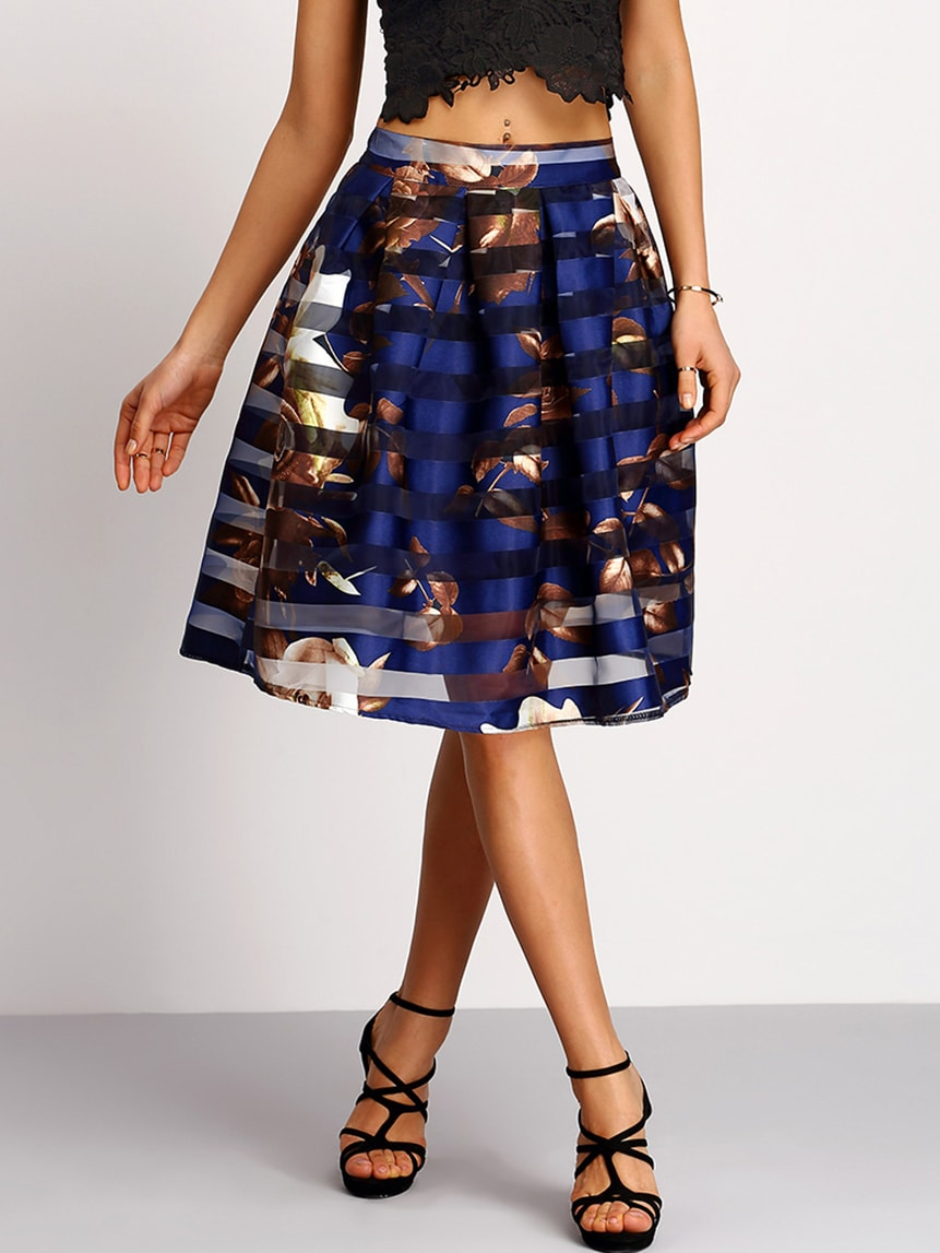 Mesh Striped Overlay Flower Print Umbrella Skirt -SheIn ...