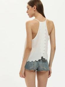 Back Slit Scalloped Hem White Cami