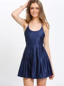 Crisscross Back Flare Navy Dress