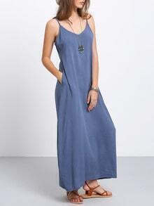 Navy Spaghetti Strap Maxi Dress With Pockets