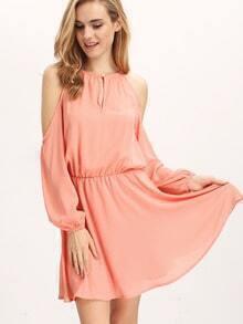 Open Shoulder Chiffon Dress