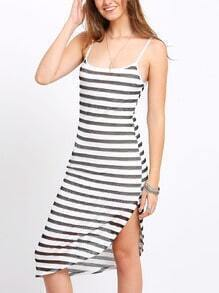 Spaghetti Strap Striped Asymmetrical Dress