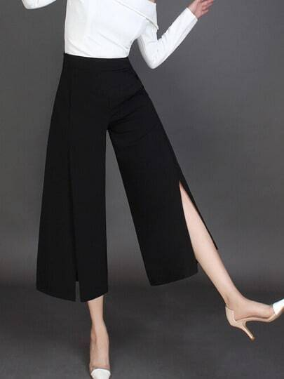 Black High Waist Split Bell-bottomed Pant