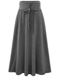 Grey High Waist Lace Up Skirt