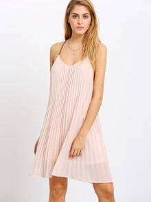 Pink Vertical Pleated Lock Hole Back Shift Dress