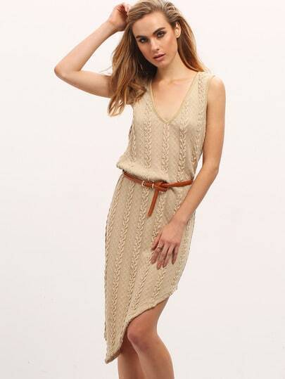 Apricot Jersey Sleeveless Asymmetric Hem Dress