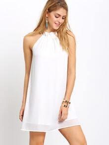 Cream Gathered High Neck Shift Dress