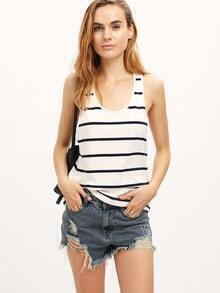 White Blue Stripe Racer Back Tank Top