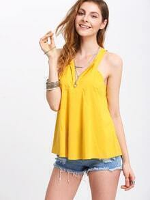 Mustard Cutaway Zipper Swing Cami Top