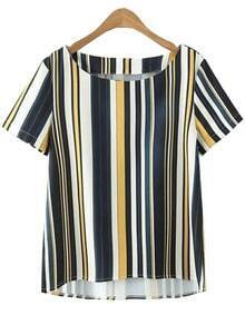 Multicolor Vertical Stripe Dip Hem Blouse