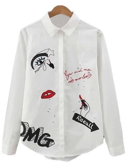 White Letter Lip Embroidery Lapel Blouse
