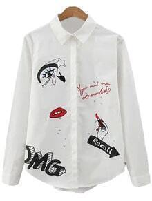 White Letter Lip Embroidery Lapel Blouse