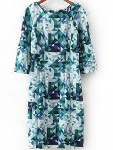 Multicolor Zipper Back Geometry Dress