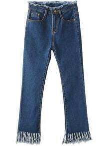 Blue Pockets Fringe Denim Pants