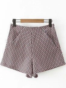 Multicolor Small Cube Zipper Back Pockets Shorts