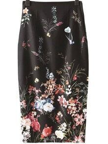Black Split Back Zipper Floral Print Pencil Skirt
