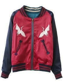 Red Long Sleeve Embroidery Baseball Jacket