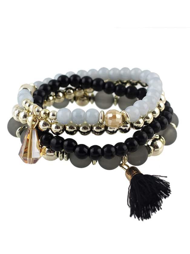 Black Small Beads Stretch BraceletBlack Small Beads Stretch Bracelet<br><br>color: Black<br>size: None
