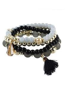 Black Small Beads Stretch Bracelet