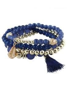 Blue Small Beads Stretch Bracelet