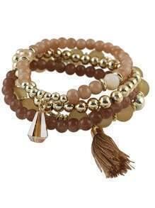 Coffee Small Beads Stretch Bracelet