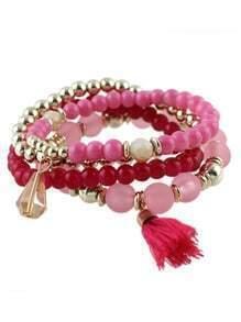 Hotpink Small Beads Stretch Bracelet