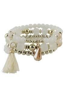 White Small Beads Stretch Bracelet