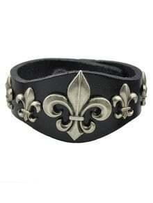 Black Wide Pu Leather Bracelet