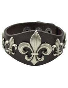 Coffee Wide Pu Leather Bracelet