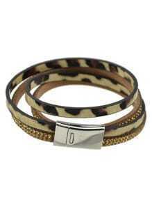 Gold Pu Leather Magnetic Bracelet
