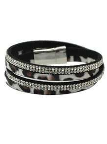 White Pu Leather Magnetic Bracelet