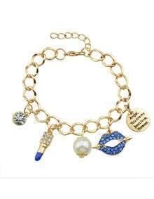Blue Adjustable Charms Bracelet