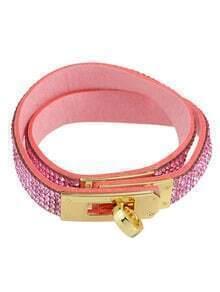 Hotpink Rhinestone Pu Wrap Bracelet