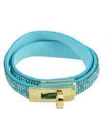 Blue Rhinestone Pu Wrap Bracelet