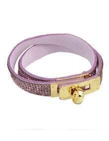 Purple Rhinestone Pu Wrap Bracelet