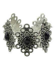 Black Gemstone Flower Shape Bracelet