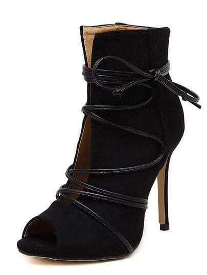 Black Peep Toe Lace-up Heeled Sandals