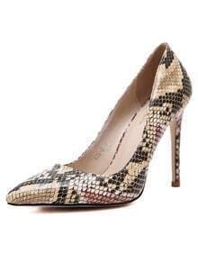 Apricot Snake Embossed Point Toe Pumps