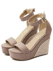 Apricot Faux Suede Espadrilles Wedge Sandals